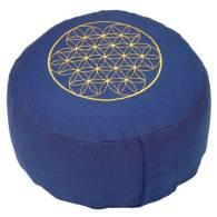 Cojin de Meditación Rondo Azul + Bordado Flor Vida (Espelta) - Bodhi