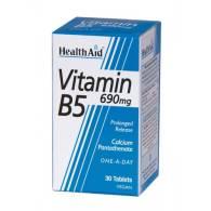 Vitamina B5 (Pantotenato cálcico) 690 mg 30Caps - Health Aid